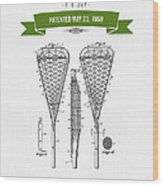 1950 Lacrosse Stick Patent Drawing - Retro Green Wood Print