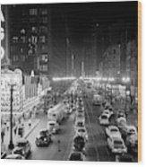 1950s 1953 Night Scene Of Chicago State Wood Print