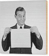 1950s 1960s Smiling Man Funny Facial Wood Print