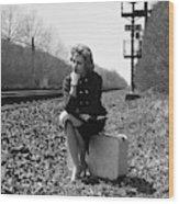 1950s 1960s Woman Sad Worried Facial Wood Print