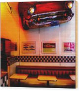 1950s American Diner - Featured In Vehicle Enthusiasts Wood Print
