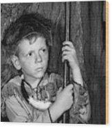 1950s Boy Wearing Raccoon Skin Hat Wood Print