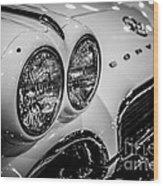 1950's Chevrolet Corvette C1 In Black And White Wood Print
