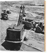 1950s Construction Site Excavation Wood Print