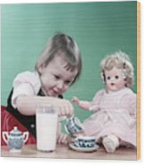 1950s Little Girl Toddler And Baby Doll Wood Print