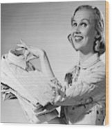 1950s Proud Smiling Woman Housewife Wood Print