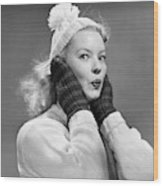 1950s Young Woman Pursing Lips Hands Wood Print
