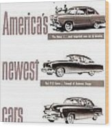 1951 - Kaiser Frazer Manhattan Automobile Advertisement - Color Wood Print