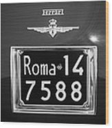 1951 Ferrari 212 Export Berlinetta Rear Emblem - License Plate -0775bw Wood Print