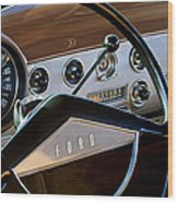 1951 Ford Crestliner Steering Wheel Wood Print by Jill Reger