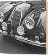 1951 Jaguar Xk120 In Black And White Wood Print