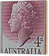 1952-1958 Australia Queen Elizabeth II Stamp Wood Print
