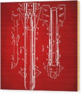 1953 Aerial Missile Patent Red Wood Print by Nikki Marie Smith