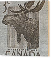 1953 Canada Moose Stamp Wood Print