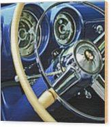 1953 Desoto Firedome Convertible Steering Wheel Emblem Wood Print