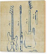 1953 Fender Bass Guitar Patent Artwork - Vintage Wood Print