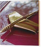 1953 Kaiser Golden Dragon Hood Ornament 3 Wood Print