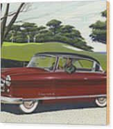 1953 Nash Rambler Car Americana Rustic Rural Country Auto Antique Painting Red Golf Wood Print