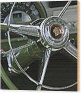 1953 Pontiac Steering Wheel Wood Print