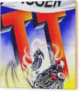 1954 - Assen Tt Motorcycle Poster - Color Wood Print