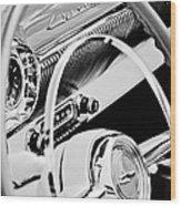 1954 Chevrolet Belair Steering Wheel Emblem -1535bw Wood Print