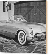 1954 Chevrolet Corvette -203bw Wood Print