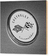 1954 Chevrolet Corvette Emblem -052bw Wood Print