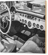 1954 Chevrolet Corvette Interior Black And White Picture Wood Print
