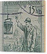 1954 Czechoslovakian Construction Worker Stamp Wood Print