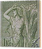 1954 Czechoslovakian Farm Woman Stamp Wood Print