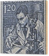 1954 Czechoslovakian Scientist Stamp Wood Print