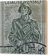1954 Czechoslovakian Soldier Stamp Wood Print