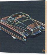 1954  Ford Cougar Experimental Car Concept Design Concept Sketch Wood Print