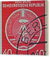 1954 German Democratic Republic Stamp - Berlin Cancelled Wood Print