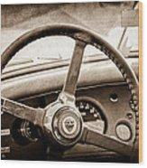 1954 Jaguar Xk120 Roadster Steering Wheel Emblem Wood Print