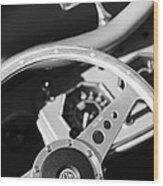 1954 Mg Tf Steering Wheel Emblem -0920bw Wood Print