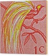 1954 Netherlands New Guinea Paradise Bird Stamp Wood Print
