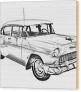 1955 Chevrolet Bel Air Illustration Wood Print