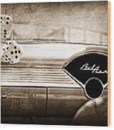 1955 Chevrolet Belair Dashboard Emblem Wood Print
