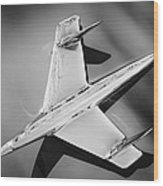 1955 Chevrolet Belair Nomad Hood Ornament -037bw Wood Print