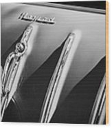 1955 Chevrolet Belair Nomad Hood Ornament -559bw Wood Print