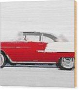 1955 Chevy Bel Air Watercolor Wood Print