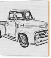 1955 F100 Ford Pickup Truck Illustration Wood Print
