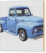 1955 Ford F100 Blue Pickup Truck Canvas Wood Print