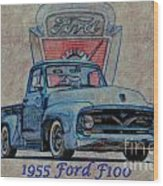1955 Ford F100 Illustration 2 Wood Print