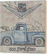 1955 Ford F100 Illustration Wood Print