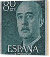 1955 General Franco Spanish Stamp Wood Print