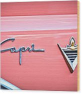 1955 Lincoln Capri Emblem 2 Wood Print