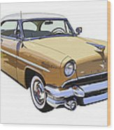 1955 Lincoln Capri Fine Art Illustration  Wood Print