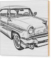 1955 Lincoln Capri Luxury Car Illustration Wood Print